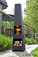(free cover) La Hacienda Skyline Black Steel Garden Chiminea With Laser Cut Design 150cm High