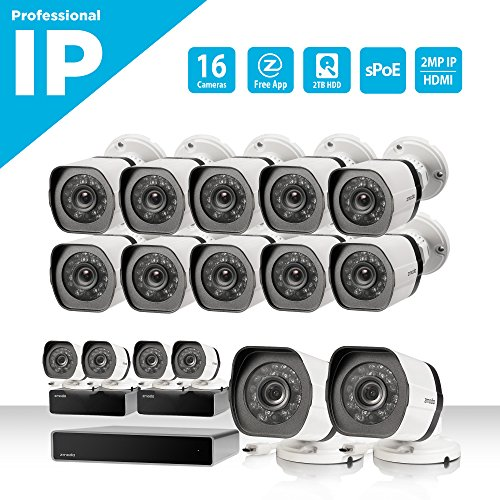 Zmodo 32 Kanal NVR Sicherheitssystem 16* HD IP Überwachungskamera mit sPoE-Repeater, ohne Festplatte