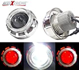 #7: AllExtreme Projector Lamp Led Headlight Stylish Dual Ring COB LED Inside Double Angel's Eye Ring Lens Projector For - All Bikes (Red & White)
