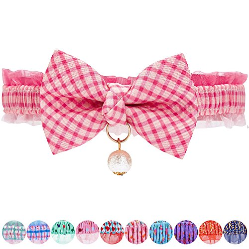 Blueberry Pet Pack of 1 Pink Plaid Breakaway Bowtie Cat Collar Lace Choker Necklace with Handmade Bow Tie and Pearl Charm, Safety Elastic Stretch Collar for Cats, Neck 21.5cm-30cm