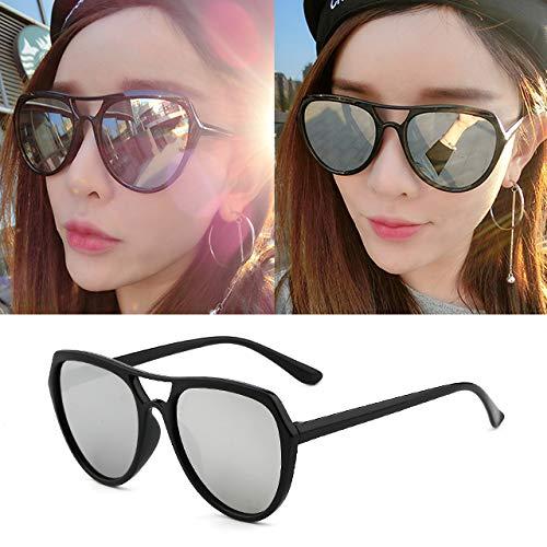 CFLFDC Sonnenbrillen Extra Große Polarisierte Sonnenbrille Frau Lady Sonnenbrille 100% Uv400 Protective Schauspielerin Gläser Schwarzer Rahmen weißes Quecksilber (Beuteltuch)
