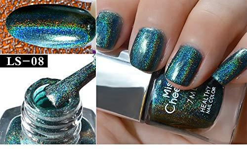 Cwemimifa Nail Care Tape,Nagel-Effekt-Nagel-Puder No Polish Foil Nails Art Glitter Silver,LS-08 (Neon Nail Polish Kit)