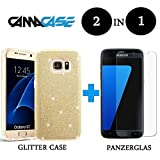 HANDY SCHUTZ HÜLLE + PANZERGLAS GLITZER LUXUS STRASS IPhone Samsung Huawei Case Samsung Galaxy S6 Edge Plus Gold
