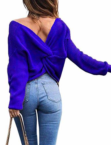 Junshan Junshan Damen Pullover langarm Casual V-Ausschnitt mit Knoten im Rücken sexy Pulli 36-44 8 Größe (36, blau) (Cable Schwarzes V-neck Knit)