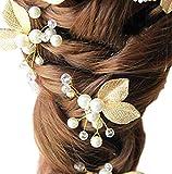 Damen Haarschmuck Accessoires Haarblumen Haargesteck Haarnadeln Perlen Hochzeit Strass Tiara Diadem gold tree Baumblatt Baumblätter royal Braut Haarschmuck (2 St.)