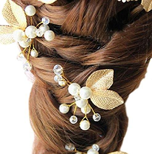 Fermaglio da donna, accessorio per capelli da matrimonio, con fiori e foglie, perline e strass, di colore bianco e oro, cod. XV-029