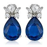 [RIVA TRÄNE] Gestochen Ohrhänger Ohrringe mit Tropfenschliff Edelstein Zirkonia CZ [Blau Saphir] in 18K Weißes Gold Vergoldet, Einfache Moderne Eleganz