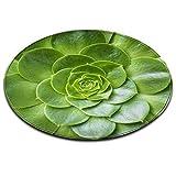 LB Cactus Fiore pianta Verde Effetto 3D Tappetino da Bagno Zona Rotonda Tappeto Soggiorno Camera da Letto Bagno Cucina Tappeto Morbido Tappetino Home Decor,60x60 CM