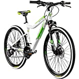 Galano GX-26 26 Zoll Damen/Jungen Mountainbike Hardtail MTB (Weiss/grün, 44cm)