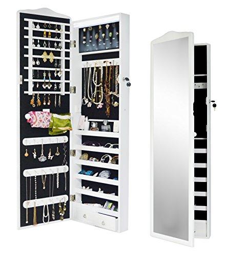 Intirilife – Eleganter Hänge-Schmuck-Schrank mit LED Beleuchtung, abschließbarer Spiegeltür mit 2 Schubladen und Haken für Ketten, Ohrringe, Schmuck in Weiss