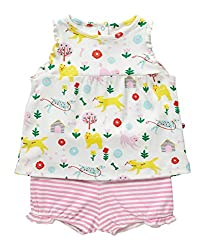 Piccalilly Organic Cotton Multicoloured Baby Girls Dogs Day Print Baby Set