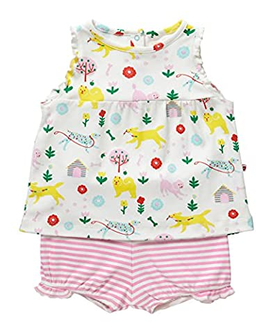 Piccalilly Organic Cotton Multicoloured Baby Girls Dogs Day Print Baby