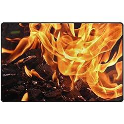 HEOEH Alfombra de campo antideslizante diseño de llama de fuego para interiores y exteriores, 78,7 x 50,8 cm