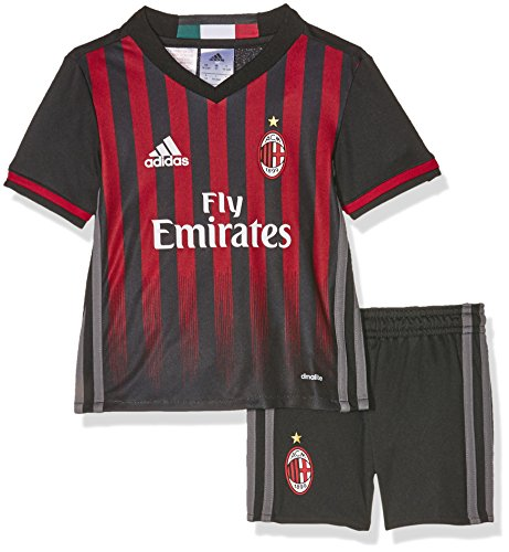 adidas Kinder Trainingsanzug AC Mailand Mini-Heimausrüstung Trikot, Black/Victory Red/Granite, 92