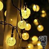 Salcar LED Kugel Lichterkette 10m, 50 LEDs, 31V Sicherheitsnetzteil + 3m Stromkabel, IP 44, Dekoratives Licht für Bäume, Traufen, Fenster usw. - Warmweiß