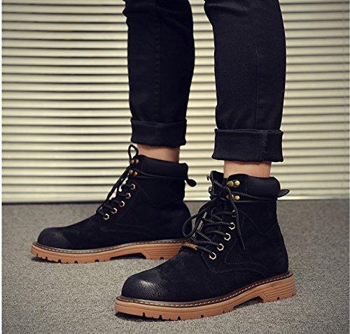HL-PYL-Martin Stivali Stivali alti opaca stivali All-Match guida maschio Coreano black