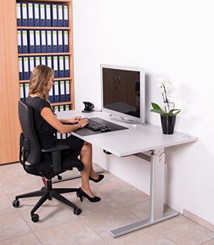Höhenverstellbarer Schreibtisch in Lichtgrau Elektrisch, B 160 cm x T 80 cm Bürotisch Arbeitstisch - 7