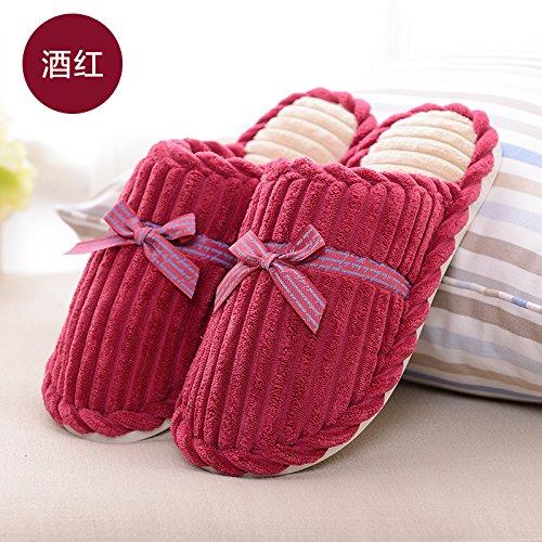 DogHaccd pantofole,Autunno Inverno carino il filtro Bow Tie soffici pantofole gli uomini e le donne a rimanere a casa calda Spessa matura il cotone pantofole inverno Il vino è di colore rosso2