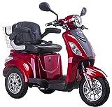 Lunex Dreirad ElektroRoller E-Scooter Elektromobil 25 km/h 500W Koffer 3 Rad Seniorenfahrzeug Seniorenmobil Elektrostuhl (Rot)