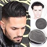 Auspiciouswig - Parrucca da uomo realizzata con capelli umani naturali al 100% e tenuti insieme con pizzo francese, dimensioni 25,4 x 20,3 cm