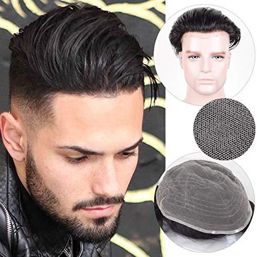 Auspiciouswig French Lace Toupee da uomo 100% naturale dei capelli umani parrucca sistema di pezzi di ricambio 25,4x 20,3cm