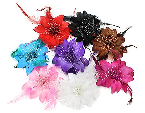 BONAMART 8 Stück Haarclip Haarklipp Blumen Haarklammer Haarspange Ansteckblume Brosche Feder Haarschmuck Hochzeit -