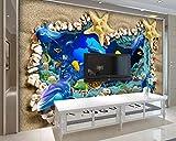 BHXINGMU Kundenspezifische Wandbilder 3D-Muscheln Seesterne Große Fototapeten Wohnzimmerdekoration 300Cm(H)×450Cm(W)