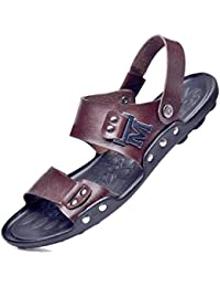 GLTER Sandales Talons Ouverts ÉTé Nouveaux Chaussures De Plage Chaussons En Cuir Slingback Sandals Chaussures De Sport DéContractéEs à Double Usage Pour Hommes