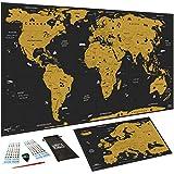 WIDETA Mappa del mondo da grattare, XXL (82 x 43 cm)/ Carta patinata extra speso 300 g/m² e laminata con pellicola protettiva/ Bonus mappa dell'Europa, accessori