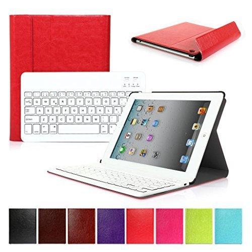CoastCloud Color rojo funda Cubierta protectora cuero PU con Teclado Inalambrico QWERTY espanol para ipad 2/ipad 3/ipad 4 con