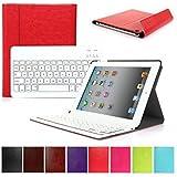 CoastCloud Color rojo funda Cubierta protectora cuero PU con Teclado Inalambrico QWERTY espanol para ipad 2/ipad 3/ipad 4 con Bluetooth