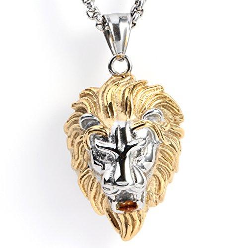 Gold Anhänger Löwen (COPAUL Schmuck Edelstahl Biker Löwe Herren-Anhänger mit 60CM Halskette,Weißes Gold)