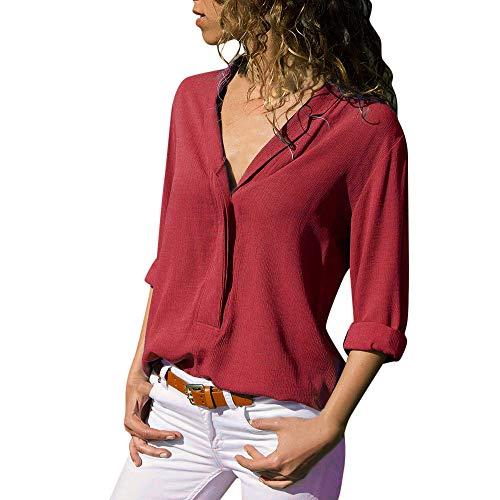 SANFASHION Chemise Femme Doux Chic Manche Longue Boutton Poche Casual Shirt Col V Tee Top Travaille ELégant Blouse Mode (Rouge,S)