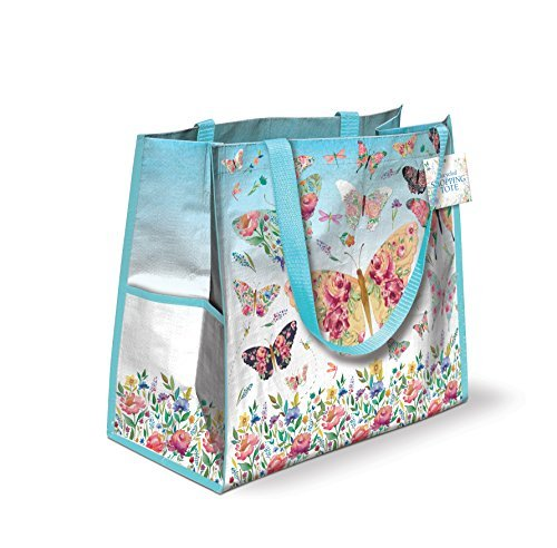 Lily McGee Butterfly Flutter Oversized Water-Resistant Shopping Grocery Tote Bag by Lily (Oversized Tote)