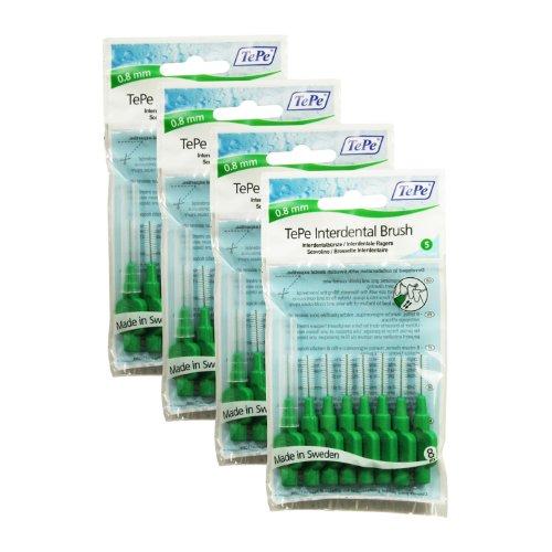 Zahnzwischenraum Bürsten TePe Interdental 0,8mm Grün - 4 Packungen Mit 8 Stück (32 Bürsten)