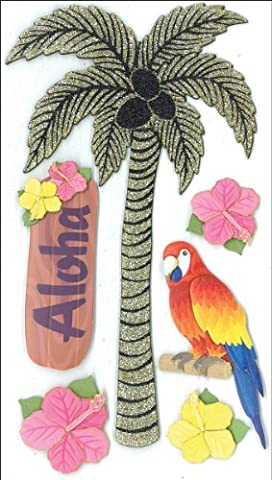 Jolee's Parcel Le Grande Stickers-Glitter Palm Tree