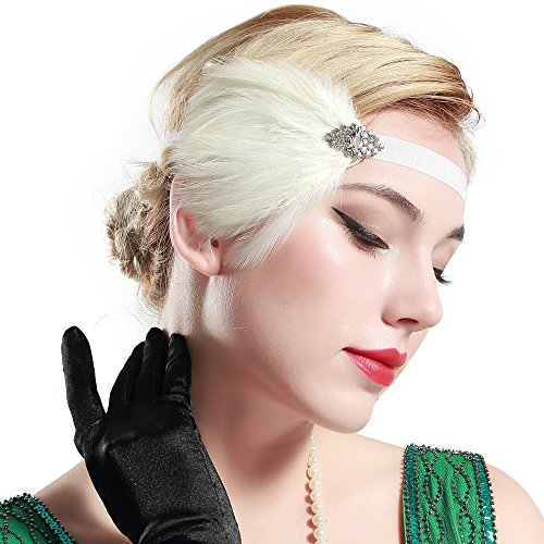 BABEYOND 1920s Flapper Stirnband mit Feder Damen Great Gatsby Haarband Retro 20er Art Deco Tanzball Kopfschmuck (Weiß)