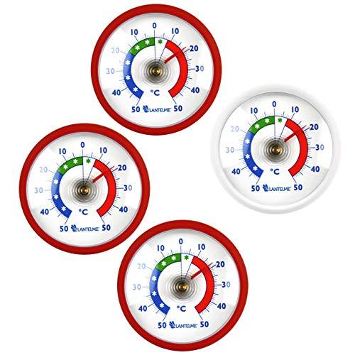 Lantelme 7362 Thermometer Set Türkei - Nationalfarben 3 mal rot und 1x weiß - 4 Stück Kühlschrankthermometer rund -