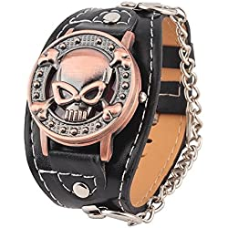 SSITG Gothic Styple Skull Punk Leather Band Watches Men's Black Watch