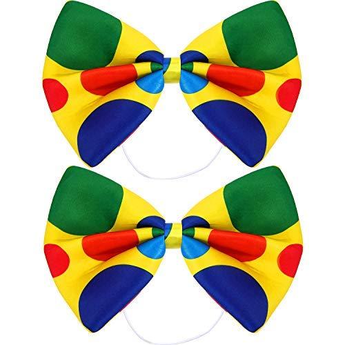 SATINIOR 2 Packungen Jumbo Clown Bowtie Zirkus Tupfen Übergroße Fliege für Halloween Karneval Zirkus Kostüm Kostüm (Übergröße Clown Kostüm)