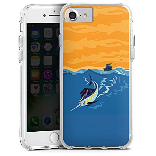 Apple iPhone X Bumper Hülle Bumper Case Glitzer Hülle Schwertfisch Angeln Fisch Bumper Case transparent