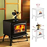 EMVANV Gold Heat Powered Fireplace Fan 4 Blade Stove Fan Eco Friendly Silent
