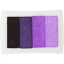 4 Sombra Almohadilla De Colores De Tinta De Huellas Digitales Corea DIY Estampación Artesanal - Púrpura, 7,2 x 5,2 x 2,1 cm