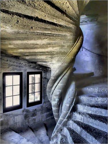 Posterlounge Leinwandbild 120 x 160 cm: Treppe im Chateau de Lourmarin von Julie Eggers/Danita Delimont - fertiges Wandbild, Bild auf Keilrahmen, Fertigbild auf echter Leinwand, Leinwanddruck Block Chateau