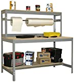 Werkbank / Packtisch BT-4 900 Grau / Holz, Maße: 144 x 90 x 75 cm (H x B x T), Traglast: 400 kg mit Aufbau und Stange