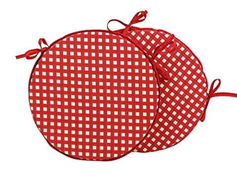 Set of 2 Bistro High Quality 16 Round Seat Pads - Gingham Red by House of Claridge