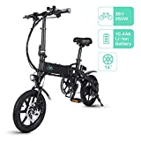 Fiido D1 Bicicleta Eléctrica Urbana, 250W 7.8Ah/10.4Ah E-Bike Plegable con Led Luz Bicicleta para Adultos, Bicicleta Eléctrica Plegable con Pedales de Bici (Negro/Blanco)
