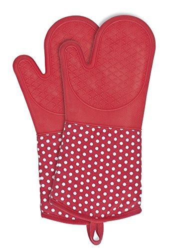 Wenko 2102168100 Topfhandschuhe Silikon Rot - 1 Paar, Baumwolle, 18.5 x 37.5 cm, Rot