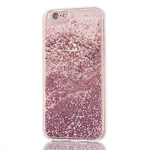 Coque iPhone 6 Plus Transparent Rose Liquide Sables Mouvants, Etui iPhone 6S Plus Bling Glitter Étoile Paillettes Housse pour Apple iPhone 6 Plus / 6S Plus (5,5 pouces) Bumper Dual Layer Plastique Dur Rose-B