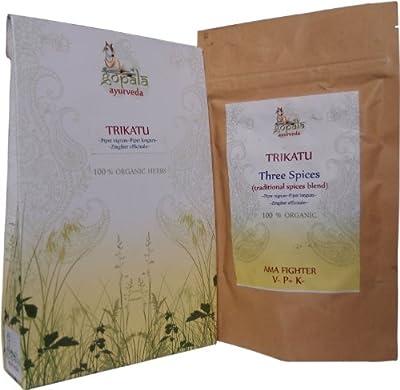Organic Trikatu 216 (500mg each) Vegetarian Capsules 100% USDA Certified Organic Herbs :Piper longum ( pepper), Piper nigrum (pepper) and Zingiber officianale(ginger) from Gopala Organics